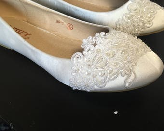 Ivory satin bridal lace flats