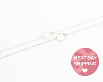 Karma Necklace Circle Necklace Dainty Gold Circle Necklace Rose Gold Silver Gold Circle Necklace Dainty Circle Necklace Ring Necklace