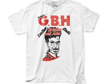 G.B.H. Leather, Bristles, Studs, and Acne Men's Traditional Fit 18/1 Cotton Tee (GBH13) White