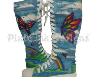 Custom Hand Painted Butterfly Knee High canvas boots, rainbow, clouds, butterflies