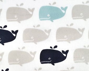 Whale double minky blanket, personalized whale minky blanket, Baby Gift, Nursery Blanket, Toddler Bedding, Nursery Blanket, Crib Bedding