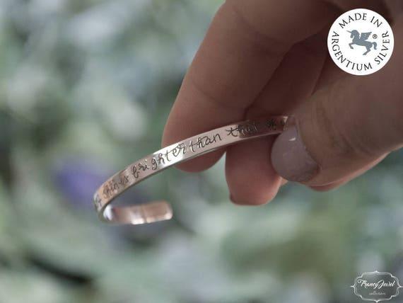 Christmas gift, handmade bracelet, custom bracelet, hand written, engraved cuff, Argentium bracelet, made in Italy, handmade jewelry