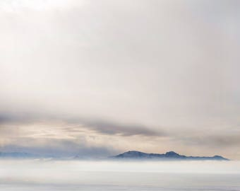 Winter Fog Color Photograph, Antelope Island Utah, Photography, Digital Download Photography, Printable Art, Nature Photography,