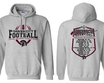Unisex Hoodies - Garden City - High School - Football - Trojans - GCHS - Long Island Champions - Rutgers Cup - Design 1