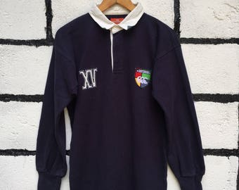 Rare Vintage Canterburry Polos Tshirt XV  Half Button Medium Size Nice Design