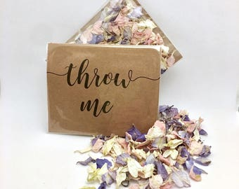 Flower petal confetti - pale pink, grey & off white petals - biodegradable - calligraphy 'throw me' kraft packet - vintage weddings