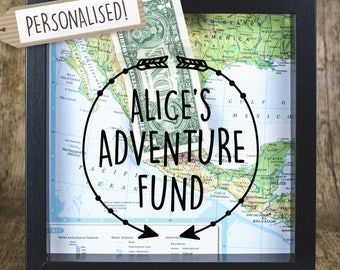 Personalised Adventure Fund // Adventure Fund // Money Frame Box // Travel Gift // Map Gift // Piggy Bank // Holiday Fund //