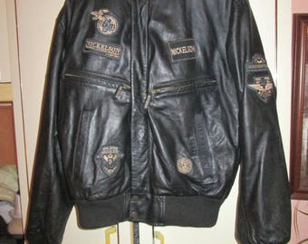Nickelson leather bomber patched jacket