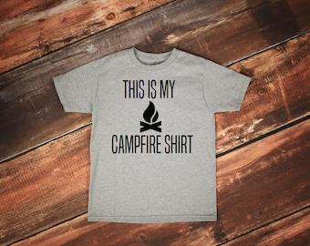Campfire shirt, Bonfire shirt, Camping tshirt, Happy Camper shirt, Camping tshirt, This is My Campfire Shirt, Camper, Camping, Mountains