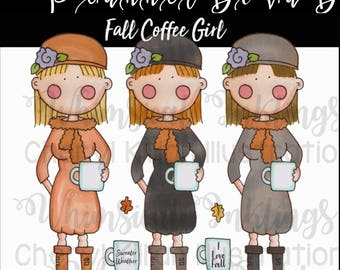 Fall Coffee Girl planner sticker art, PNG, clip art, small commercial use