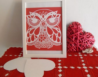 The owl in love: handmade papercut