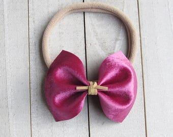 Fuisha pink crushed velvet bow