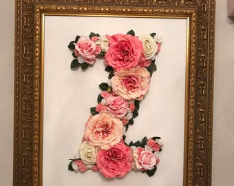 Custom Framed Floral Letter