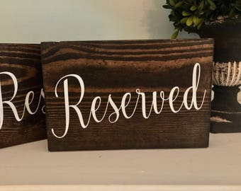 Reseved Signs | Wedding Table | Wedding Decor | Set of 4