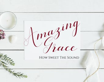 Amazing Grace Sign | PDF PRINTABLE | Digital Download | Burgundy | 8in x 10in