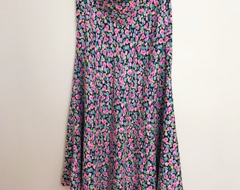 Black Floral Silk Midi Skirt