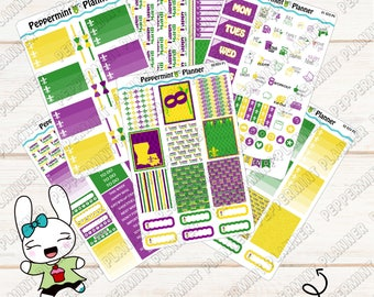 Mardi Gras Weekly Planner Kit --- For use with the EC Vertical --- Planner Stickers --- 01
