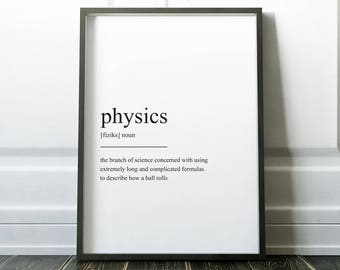 Physics Definition Print, Wall Art Print, Quote Print, Prints, Wall Art, Minimalist Print, Physics Gift, Scandinavian Print, Physics Poster