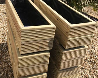 Rectangular Decking Planters Fully Lined Handmade