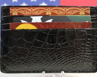 Genuine handmade black Alligator leather skin card holder wallet (made in the USA!)