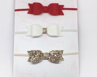 Christmas baby headband set, red hair bows, gold glitter headband, stocking stuffer, christmas bows, baby girl bow set, baby hair clips,