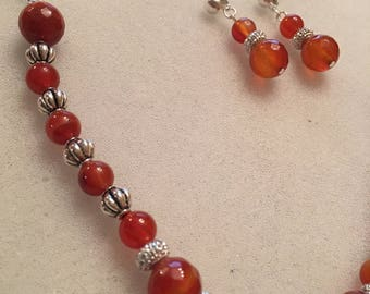 Silver Plated Carnelian Necklace With Matching Earrings