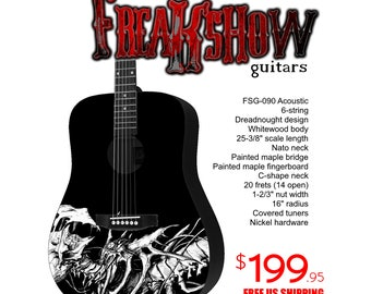 Graphic Acoustic Guitar SPINE Design by FreakshowGuitars - FREE SHIPPING