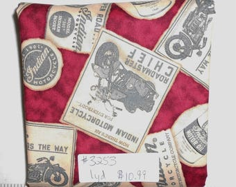 Fabric -1 yard piece -Classic Indian Motorcycle/Maroon Newspaper Clippings of Motorcycles/Quilting Treasures 1649 23590 M (#3253)