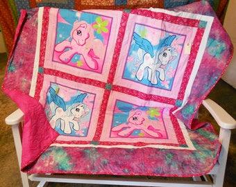 "My Little Pony Lap Quilt 60"" x 61"" Pinkie Pie/Star Catcher, Bright Pinks, Purples, Teals, Bright Blue, Bright Green, White, Batik Border"
