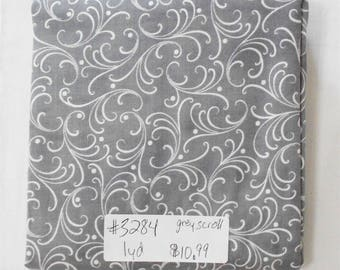Fabric -1yd piece-Christmas/Xmas/Winter-Grey/Gray/with White Elegant Scroll (#3284) Give Us This Day/Quilting Treasures