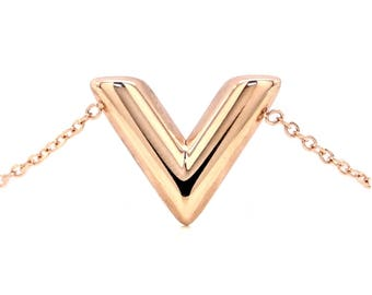 Real rose gold plated V bracelet letter V shape, genuine rose gold 14 carats, with purple gift bag and black box included