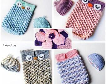Owl Cocoon - Flower Cocoon - Crochet Cocoon - Crochet Owl Cocoon - Baby Cocoon - Baby Yarn Cocoon - Owl Photo Prop - Newborn Photo Prop