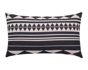 Geometric lumbar pillow covers Stripe decorative pillow case Ethnic waist cushion cover Rustic cushion case Sofa couch home decor gift 12x20