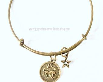Generous Leo Zodiac Bronze Adjustable Bangle Charm Bracelet Double Sided Astrology Charm Star Signs Handmade Jewelry Gifts Free Shipping