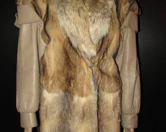Vtg très joli  manteau de véritable fourrure de bassarisk et cuir/ Vtg beautiful real bassarisk fur coat/leather/coyote   MEDIUM   BUST 42