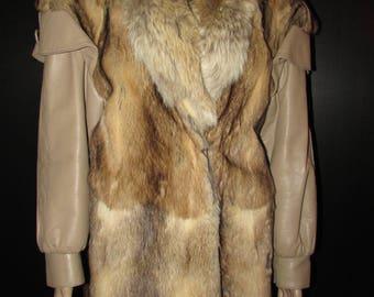 Vtg très joli  manteau de véritable fourrure de bassarisk et cuir/ Vtg beautiful real bassarisk fur coat/leather/coyote   MEDIUM   BUST 42