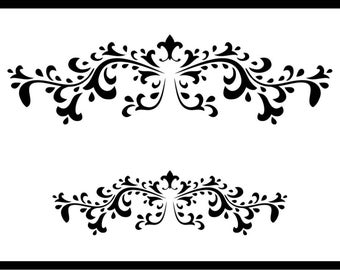 Header Flourish Stencil Various Sizes French Shabby Chic Vintage Furniture Fabric Arts Crafts Reusable 190 Micron Mylar Laser Cut