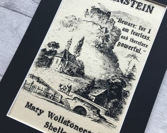 Frankenstein Illustration Parchment Print - A4 Mount Framed