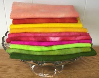 Summer Garden Hand Dyed Felted 100% Wool for Applique or Rughooking