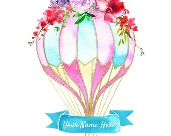 Hot air balloon digital print, custom nursery print, girl hot air balloon print, custom hot air balloon, nursery decor, pink hot air balloon