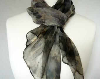 Long Silk Chiffon Grey/Black Scarf - Wrap - Eco-Dyed & Printed
