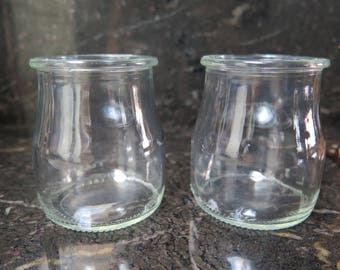 Easter Mothers Day GLASSES Small Milk Jugs  Clear Shaped Candy Crafts BEVERAGE Molded SET=2