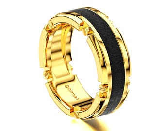 Trendy 14K Yellow Gold Modern Mens Band G1156-14KYG