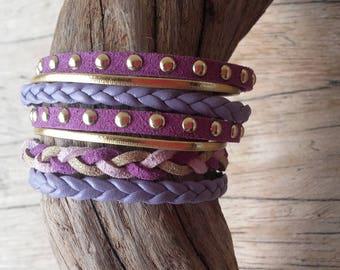 Purple and gold Cuff Bracelet