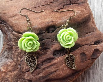 Light green resin Flower Earrings