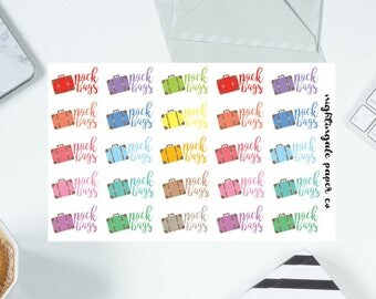 Pack Bags Travel Suitcase Planner Stickers
