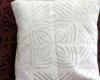 Set of 5, Vintage Boho White Hand Applique Pure Cotton Geometric 16 x 16 inch Square Cushion Cover Pillow Sham Wall Hanging
