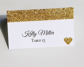 10 Gold Glitter Place Cards, Wedding Place Cards, gold glitter place cards, gold place cards, glitter place cards, rustic place cards, gold