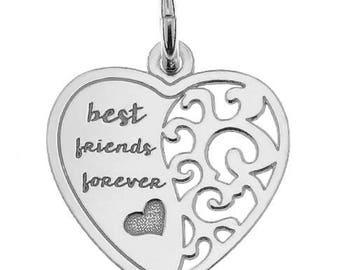Sterling Silver Best Friend Heart Charm 18mm Findings PK1 PK5