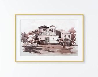 Original Watercolor Painting,Watercolor Painting,landscape,San Antonio,Terrell Hills